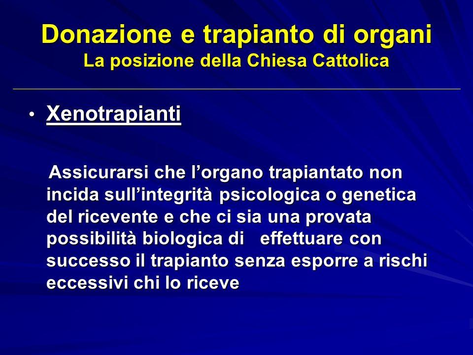Donazione e trapianto di organi La posizione della Chiesa Cattolica