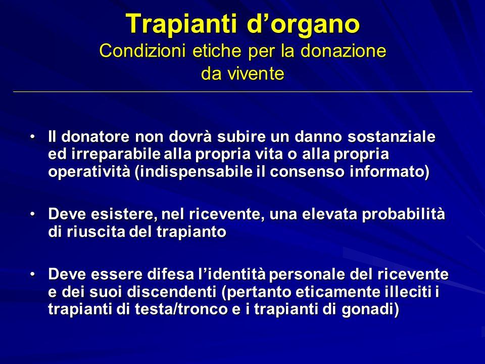 Trapianti d'organo Condizioni etiche per la donazione da vivente