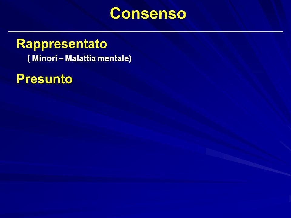 Consenso Rappresentato ( Minori – Malattia mentale) Presunto