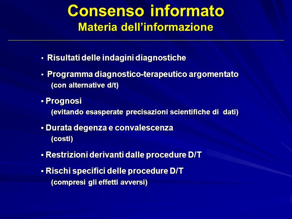 Consenso informato Materia dell'informazione
