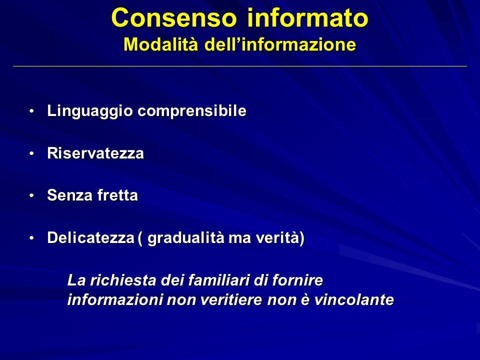 Consenso informato Modalità dell'informazione