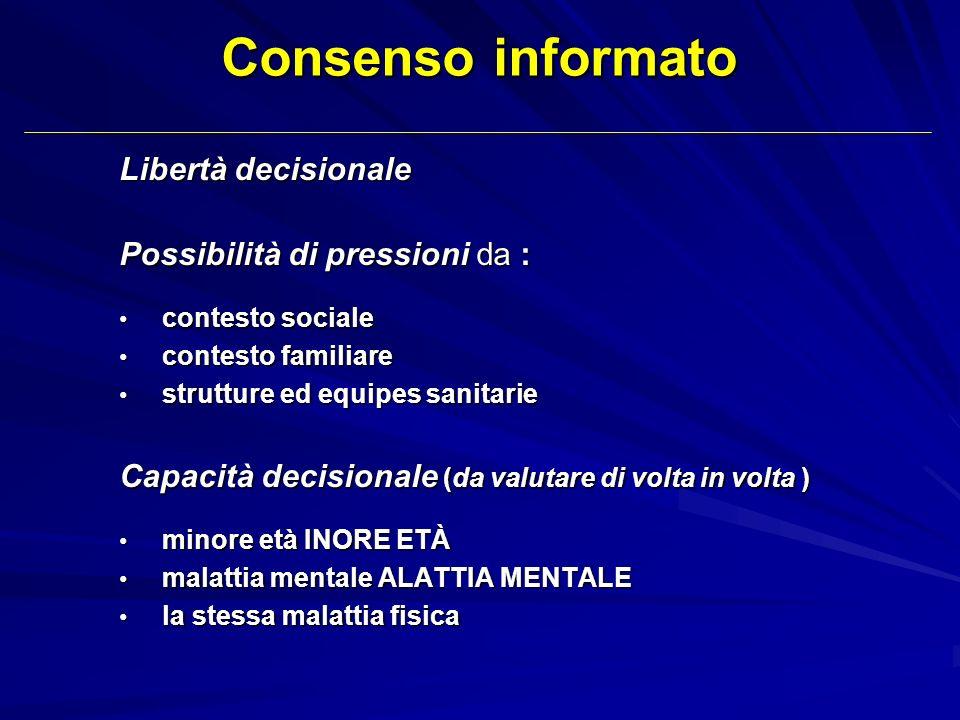 Consenso informato Libertà decisionale Possibilità di pressioni da :