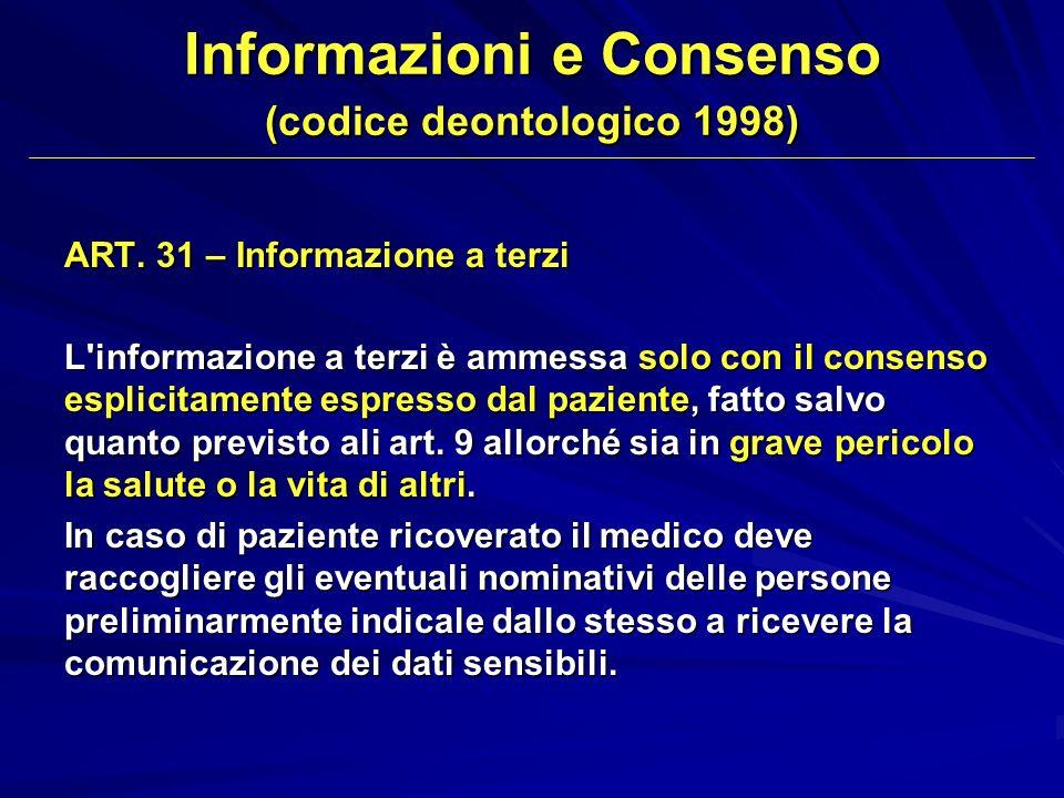 Informazioni e Consenso (codice deontologico 1998)