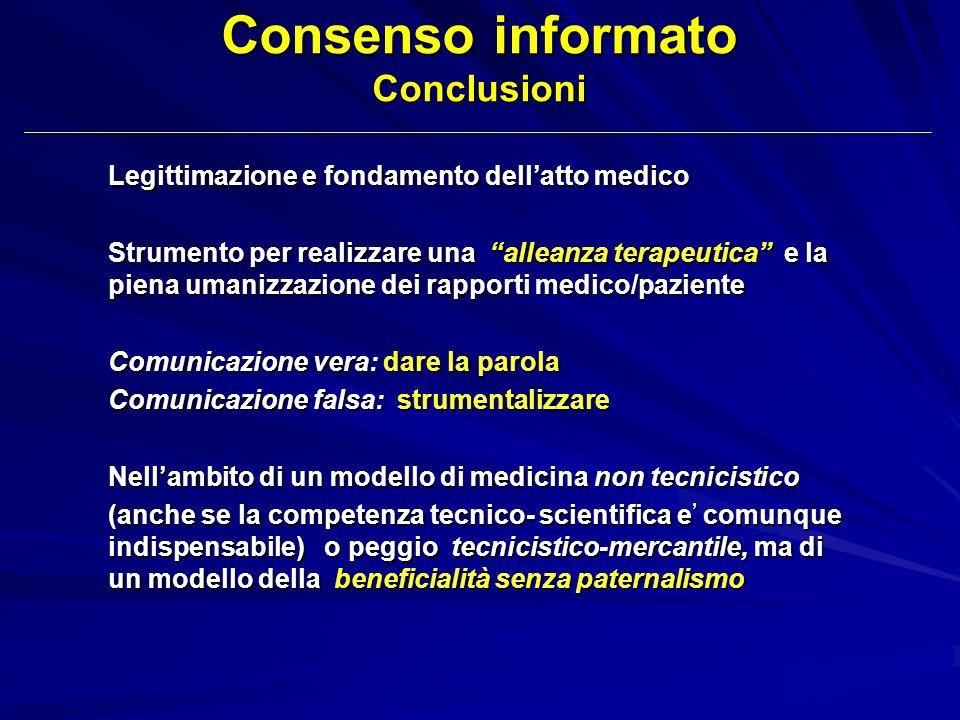 Consenso informato Conclusioni