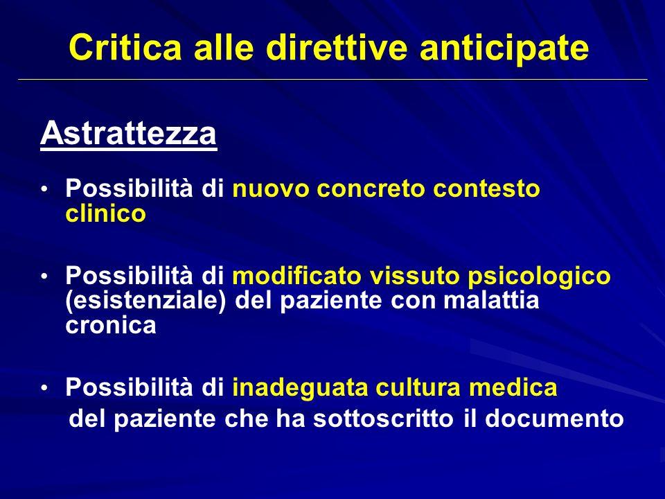 Critica alle direttive anticipate