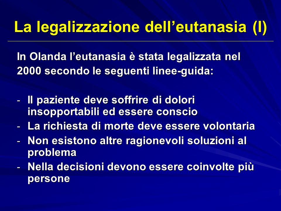 La legalizzazione dell'eutanasia (I)
