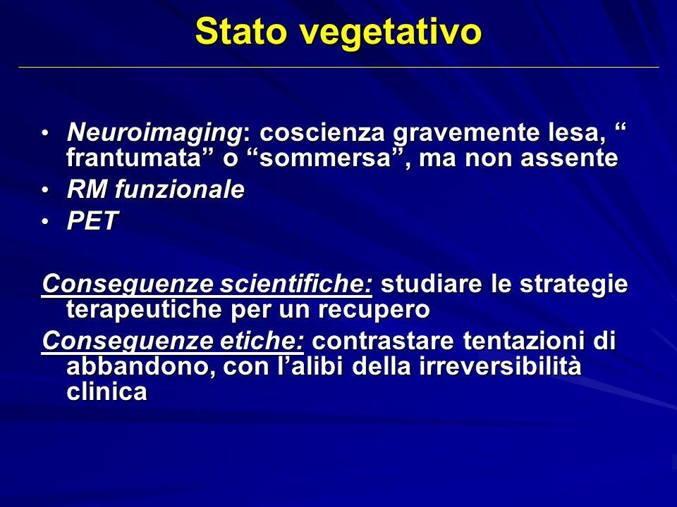 Stato vegetativo Neuroimaging: coscienza gravemente lesa, frantumata o sommersa , ma non assente.