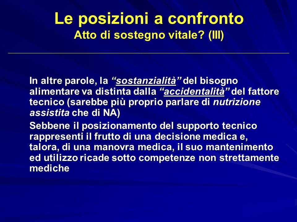 Le posizioni a confronto Atto di sostegno vitale (III)
