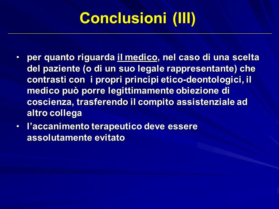 Conclusioni (III)