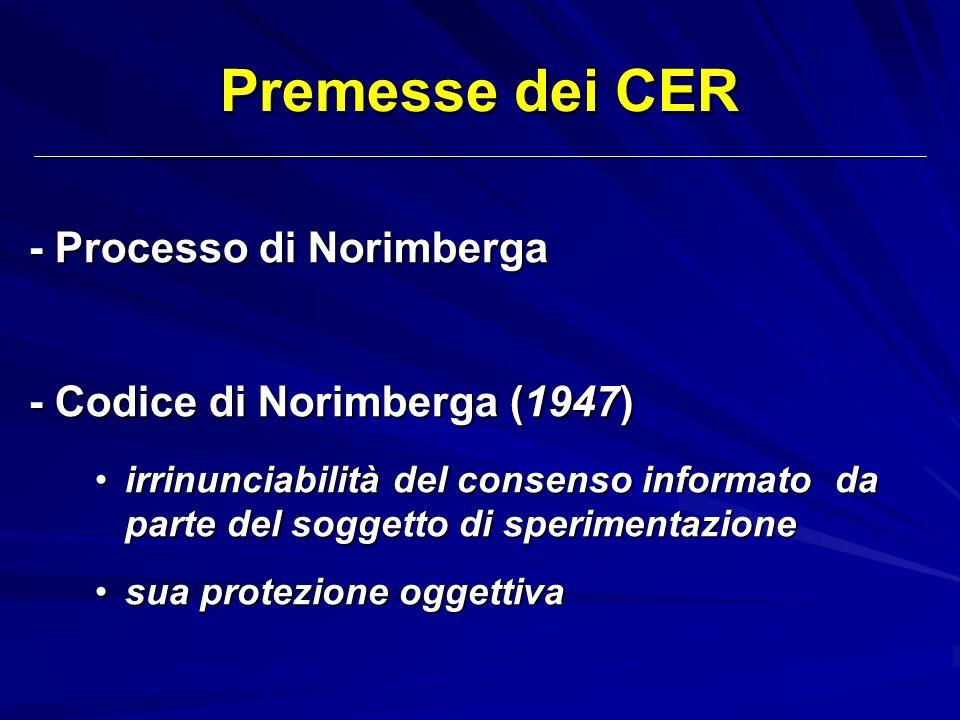Premesse dei CER - Processo di Norimberga