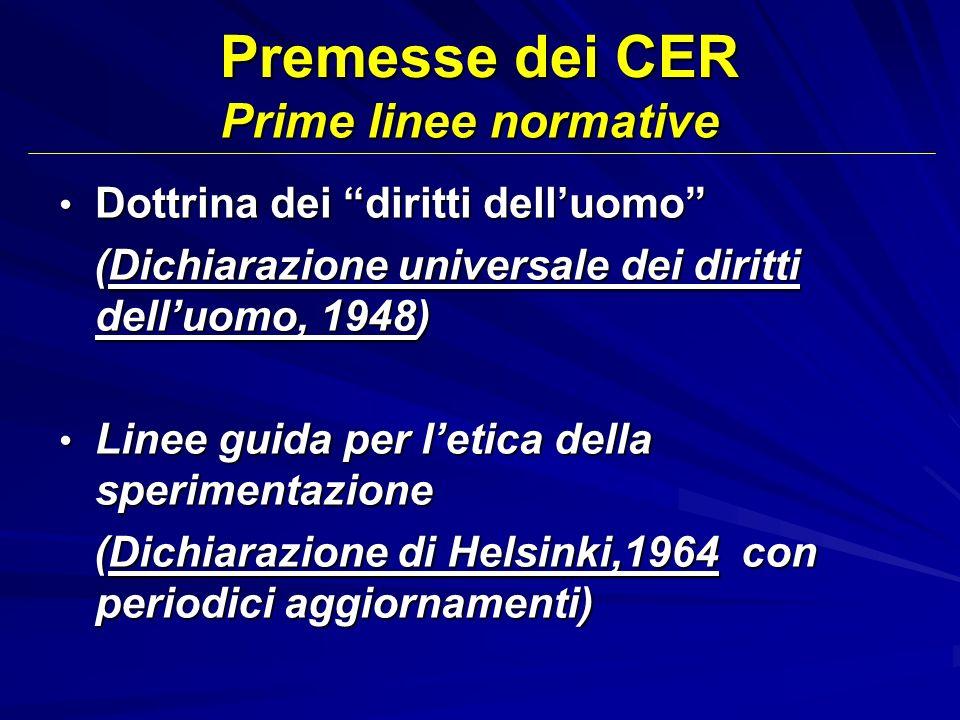 Premesse dei CER Prime linee normative