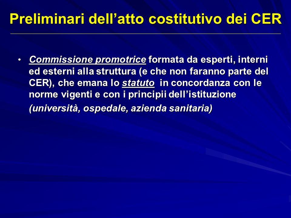 Preliminari dell'atto costitutivo dei CER