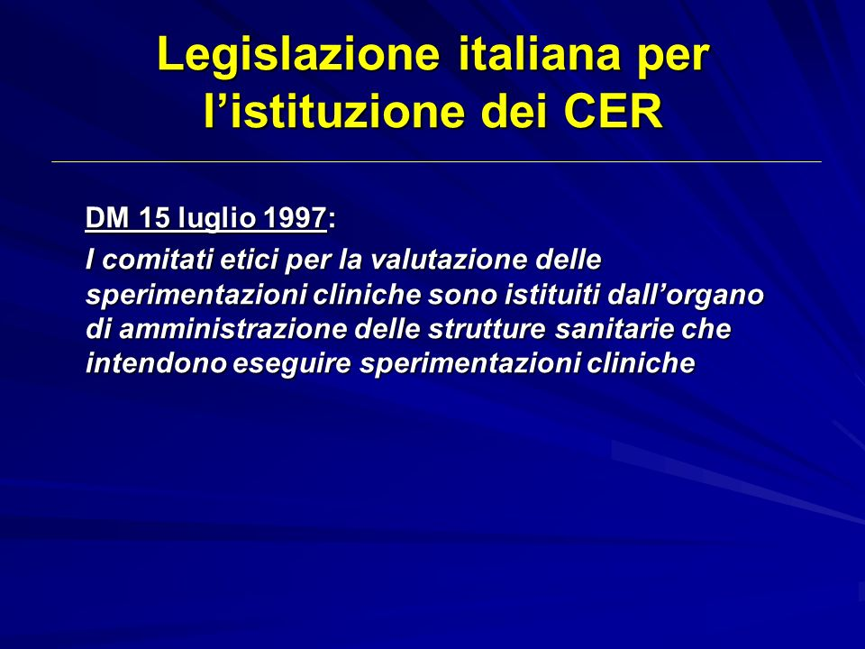 Legislazione italiana per l'istituzione dei CER
