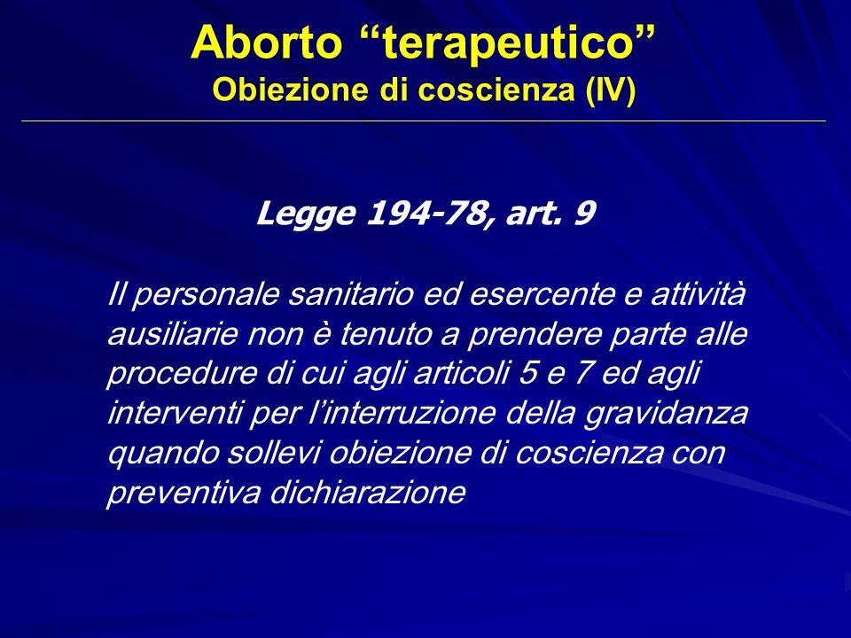 Obiezione di coscienza (IV)