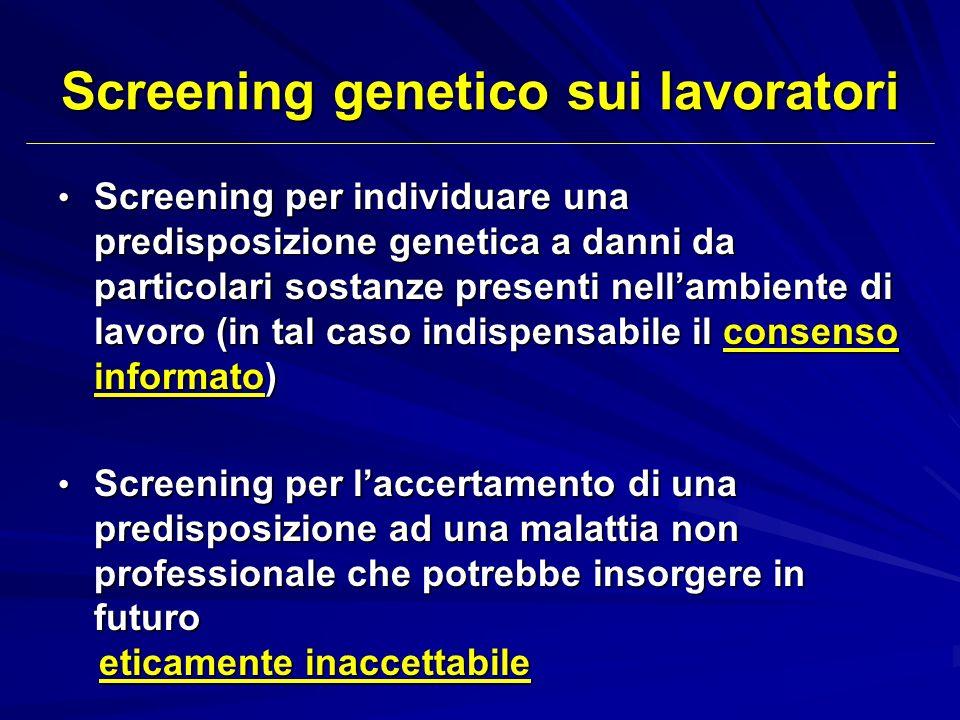 Screening genetico sui lavoratori