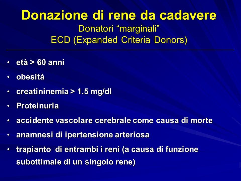 Donazione di rene da cadavere Donatori marginali ECD (Expanded Criteria Donors)