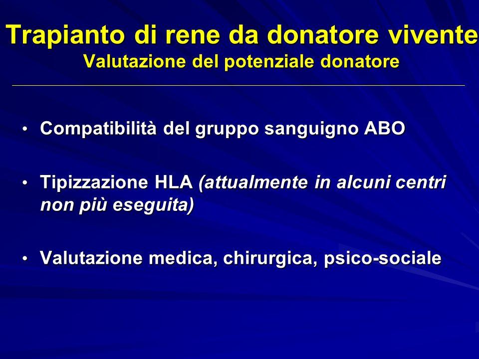 Trapianto di rene da donatore vivente Valutazione del potenziale donatore