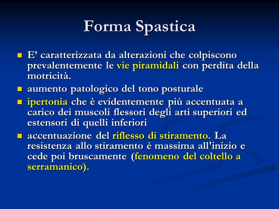 Forma SpasticaE' caratterizzata da alterazioni che colpiscono prevalentemente le vie piramidali con perdita della motricità.