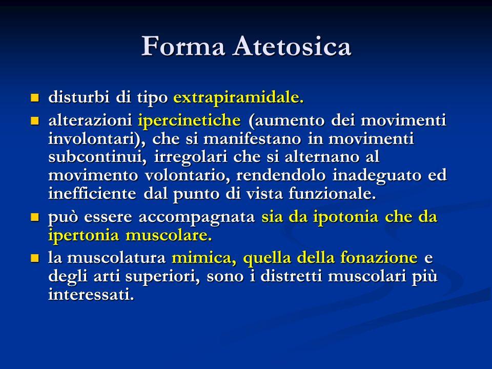 Forma Atetosica disturbi di tipo extrapiramidale.