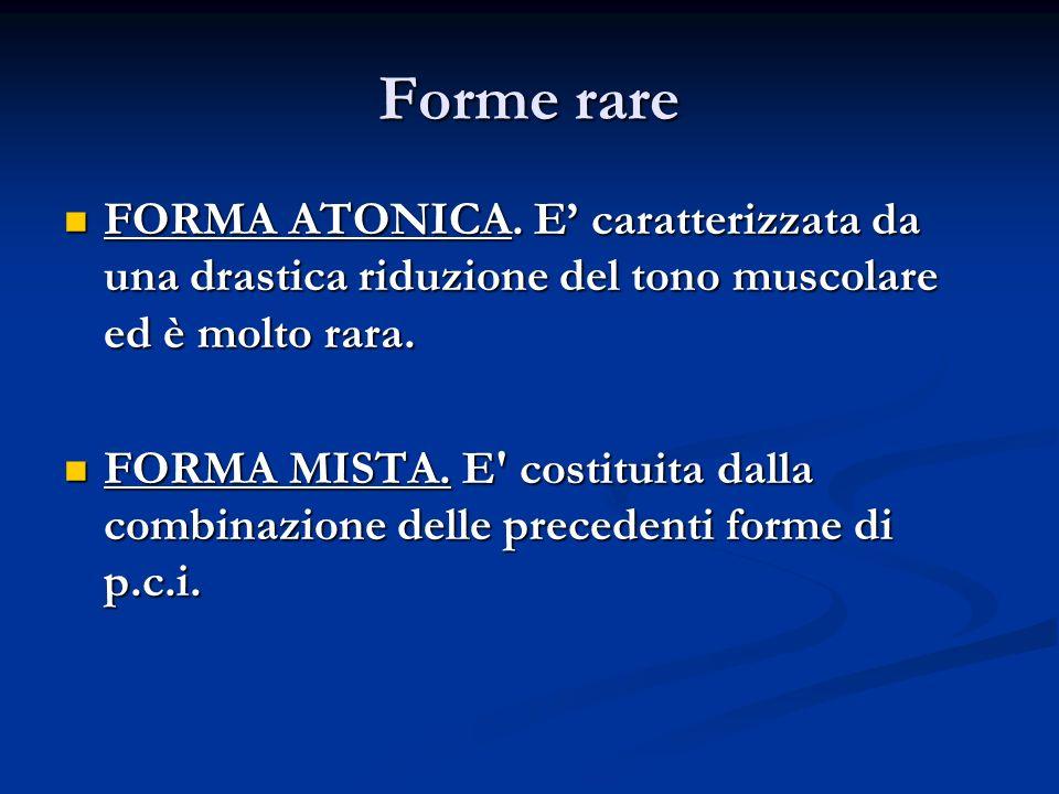 Forme rare FORMA ATONICA. E' caratterizzata da una drastica riduzione del tono muscolare ed è molto rara.