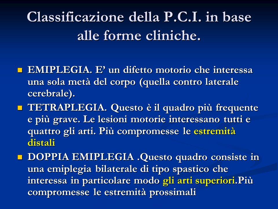 Classificazione della P.C.I. in base alle forme cliniche.
