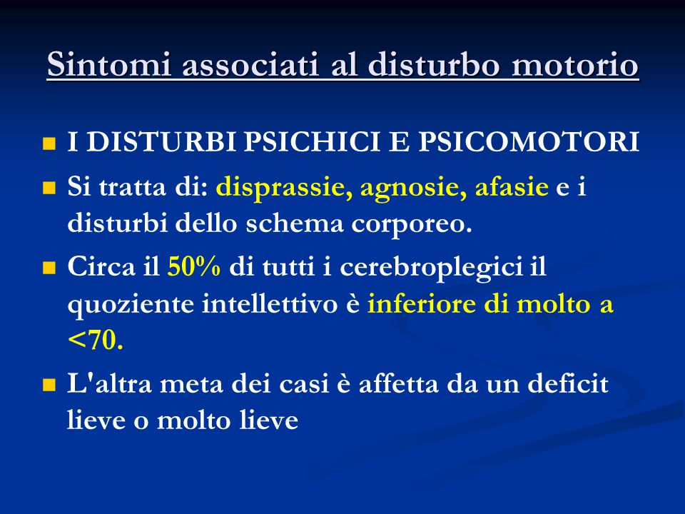 Sintomi associati al disturbo motorio