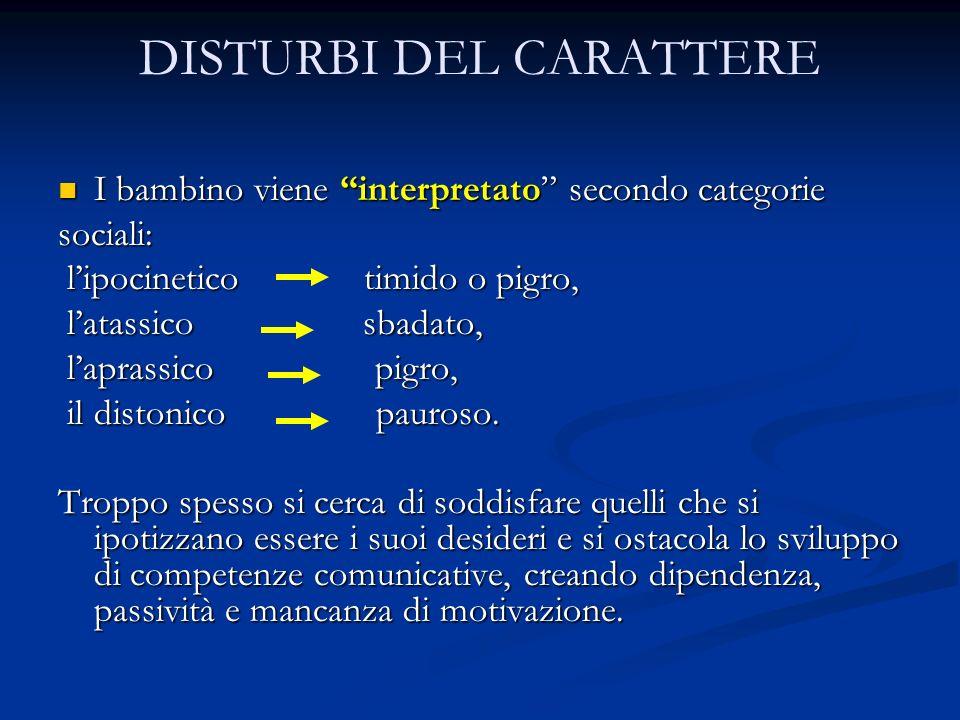 DISTURBI DEL CARATTERE