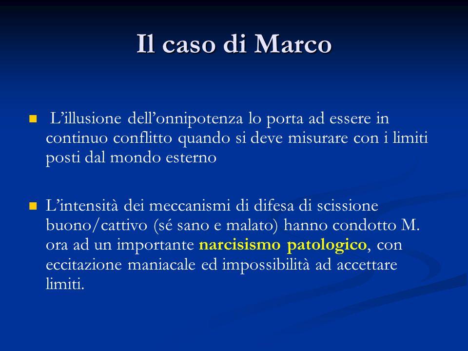 Il caso di MarcoL'illusione dell'onnipotenza lo porta ad essere in continuo conflitto quando si deve misurare con i limiti posti dal mondo esterno.
