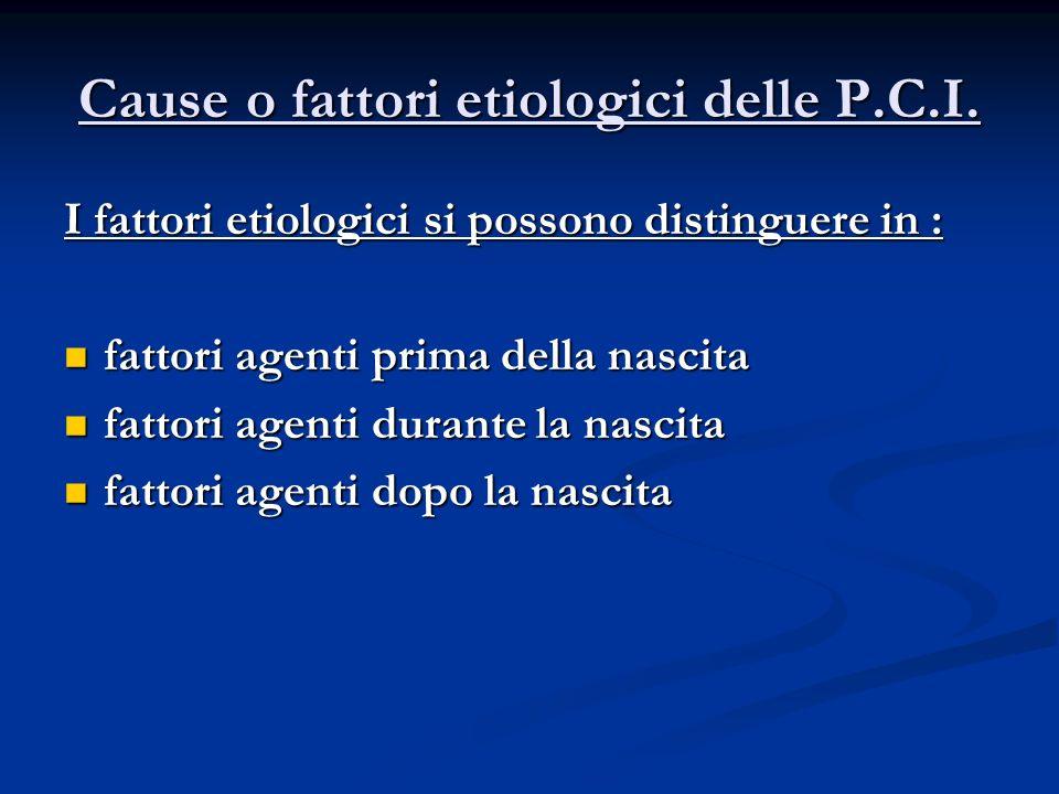 Cause o fattori etiologici delle P.C.I.