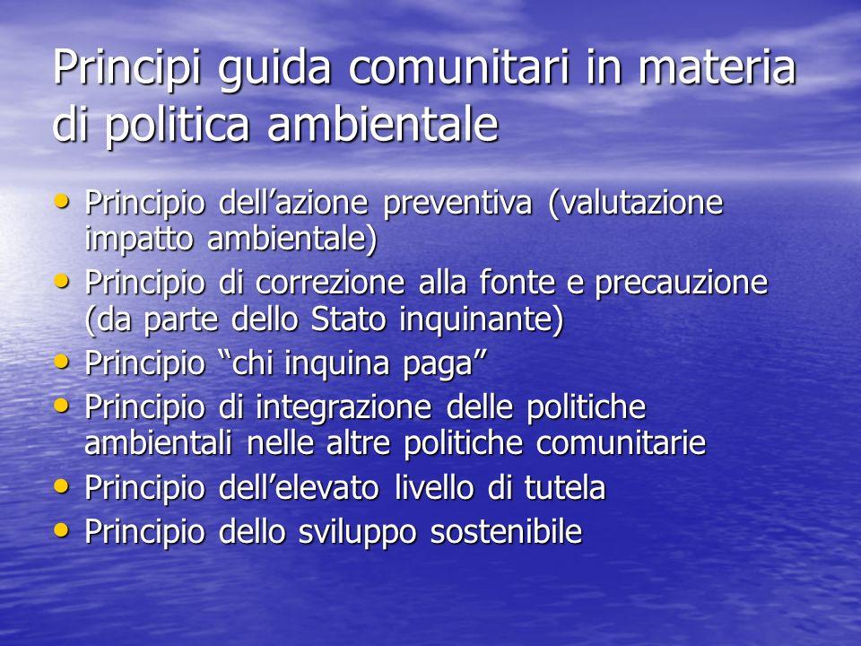 Principi guida comunitari in materia di politica ambientale