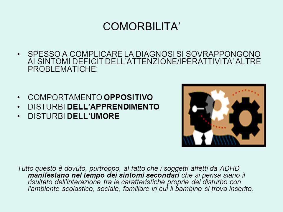 COMORBILITA'SPESSO A COMPLICARE LA DIAGNOSI SI SOVRAPPONGONO AI SINTOMI DEFICIT DELL'ATTENZIONE/IPERATTIVITA' ALTRE PROBLEMATICHE:
