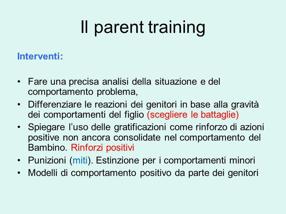 Il parent training Interventi: