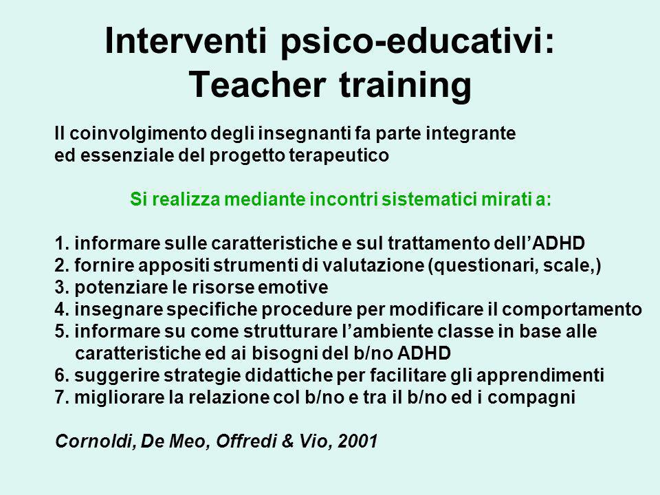 Interventi psico-educativi: Teacher training
