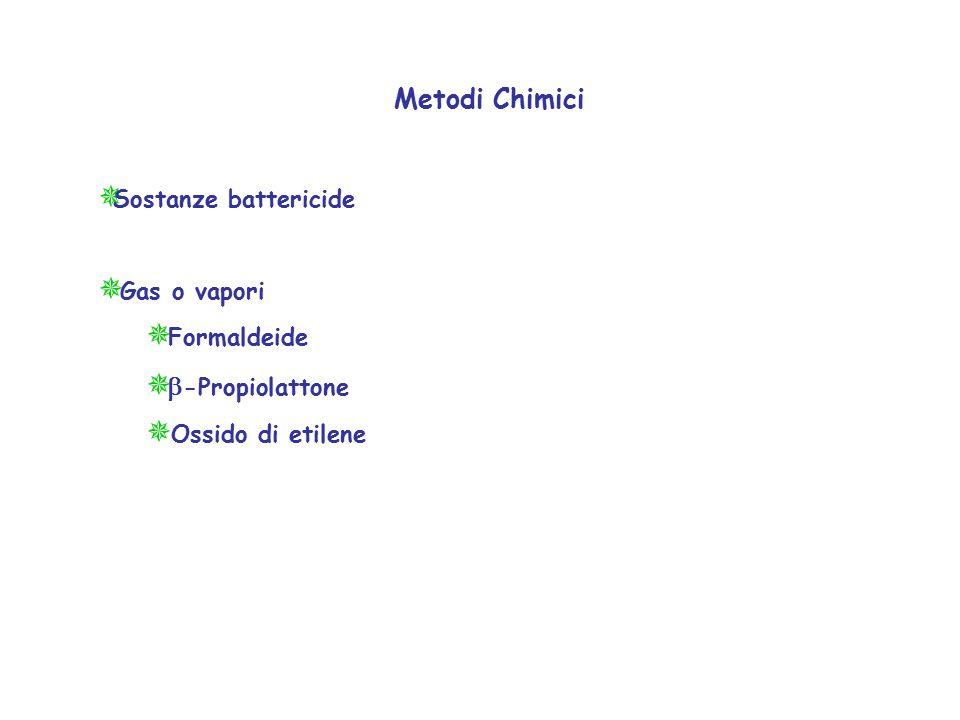 Metodi Chimici Sostanze battericide Gas o vapori Formaldeide