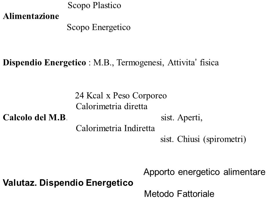 Dispendio Energetico : M.B., Termogenesi, Attivita' fisica