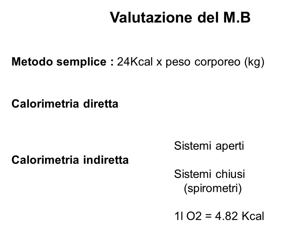 Metodo semplice : 24Kcal x peso corporeo (kg)