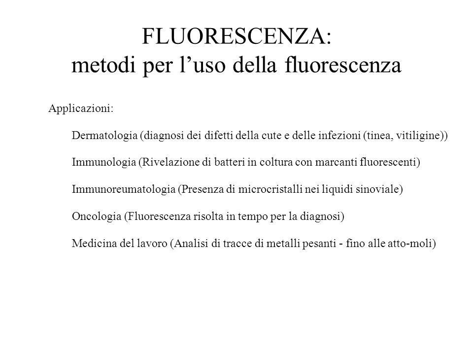 FLUORESCENZA: metodi per l'uso della fluorescenza