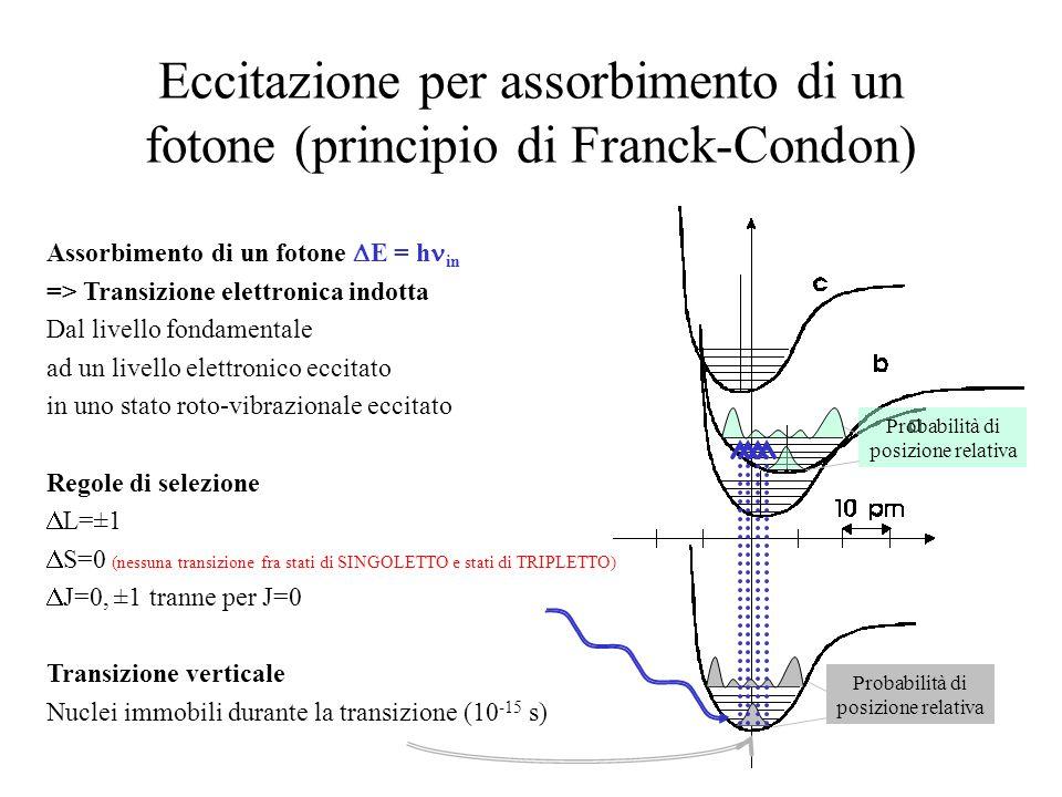 Eccitazione per assorbimento di un fotone (principio di Franck-Condon)