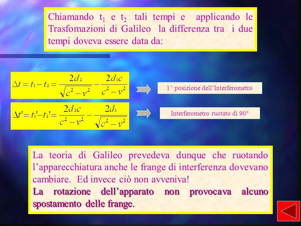 Chiamando t1 e t2 tali tempi e applicando le Trasfomazioni di Galileo la differenza tra i due tempi doveva essere data da: