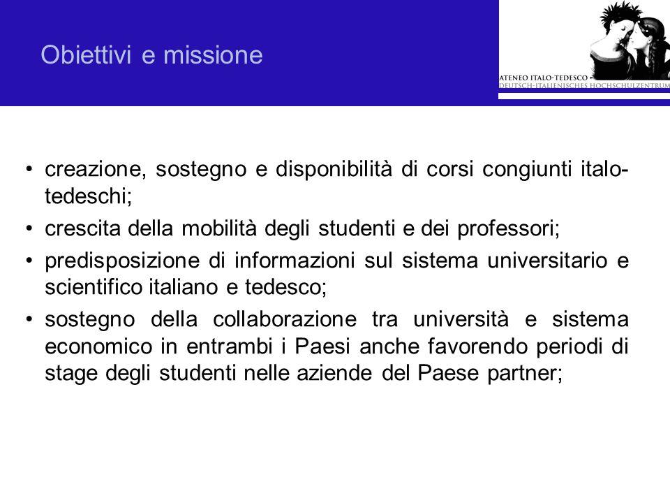 Obiettivi e missionecreazione, sostegno e disponibilità di corsi congiunti italo-tedeschi; crescita della mobilità degli studenti e dei professori;