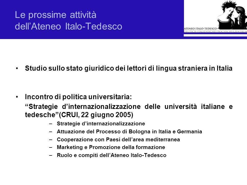 Le prossime attività dell'Ateneo Italo-Tedesco