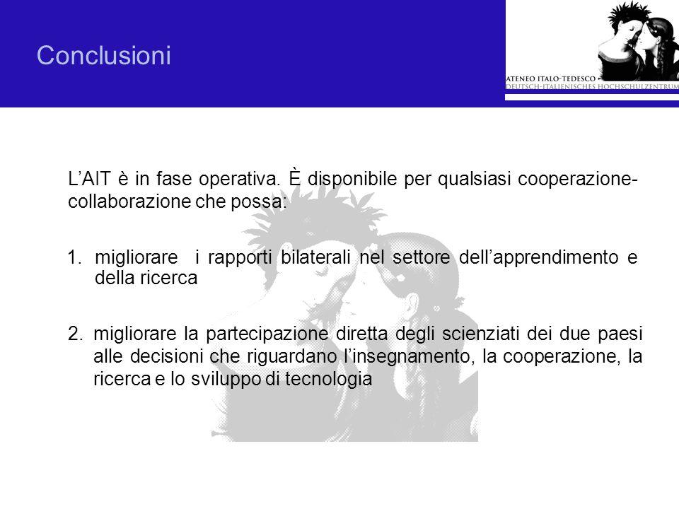 Conclusioni L'AIT è in fase operativa. È disponibile per qualsiasi cooperazione-collaborazione che possa: