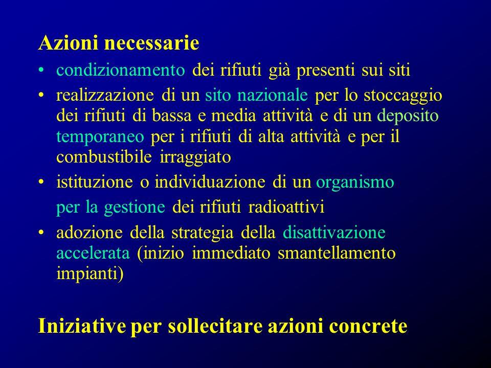 Iniziative per sollecitare azioni concrete