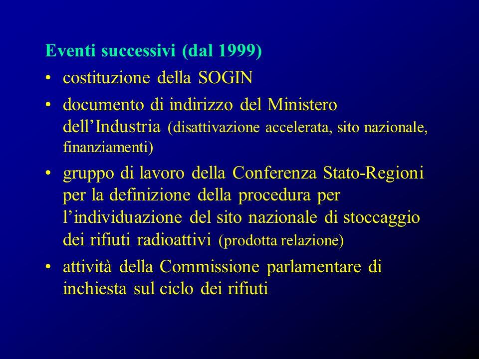 Eventi successivi (dal 1999)