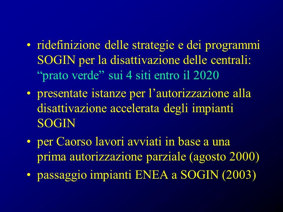 ridefinizione delle strategie e dei programmi SOGIN per la disattivazione delle centrali: prato verde sui 4 siti entro il 2020