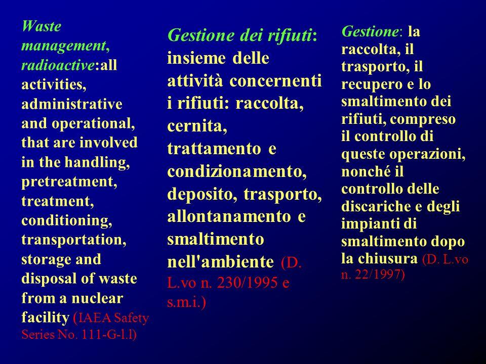 Gestione dei rifiuti: insieme delle attività concernenti i rifiuti: raccolta, cernita, trattamento e condizionamento, deposito, trasporto, allontanamento e smaltimento nell ambiente (D. L.vo n. 230/1995 e s.m.i.)