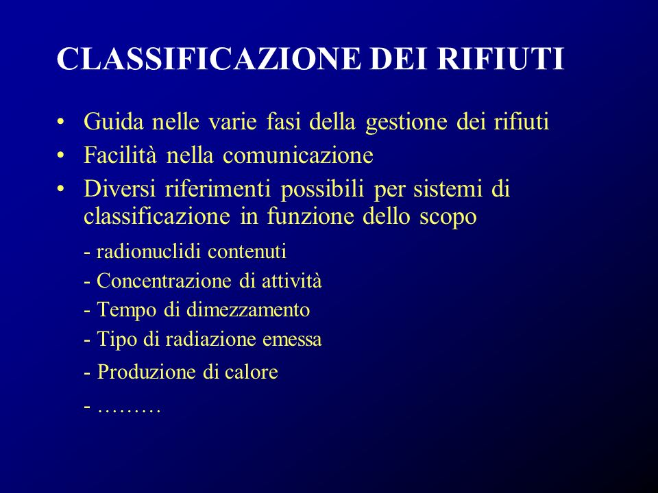 CLASSIFICAZIONE DEI RIFIUTI