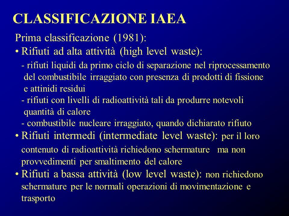CLASSIFICAZIONE IAEA Prima classificazione (1981):