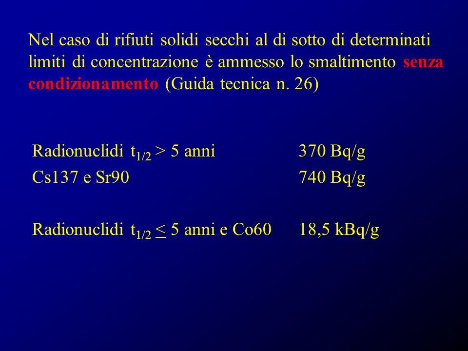 Nel caso di rifiuti solidi secchi al di sotto di determinati limiti di concentrazione è ammesso lo smaltimento senza condizionamento (Guida tecnica n. 26)