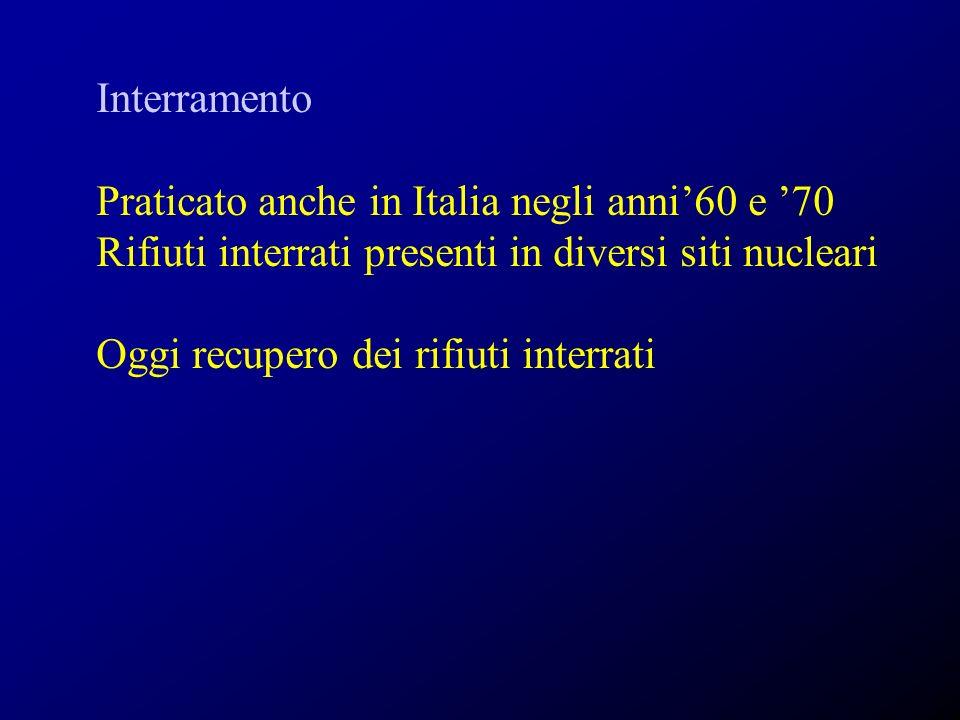 Interramento Praticato anche in Italia negli anni'60 e '70. Rifiuti interrati presenti in diversi siti nucleari.